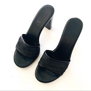 Gucci Logo Black Heels size 38